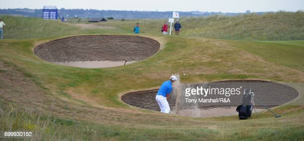 xxxx plays his second shot on the 1st fairway during Day 4 of The Amateur Championship at Royal St George on June 22 2017 in Sandwich England