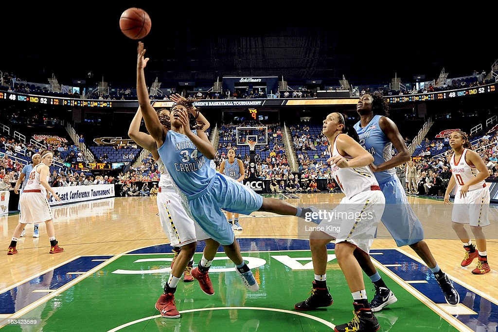 Xylina McDaniel #34 of the North Carolina Tar Heels goes to the hoop against the Maryland Terrapins during the semifinals of the 2013 Women's ACC Tournament at the Greensboro Coliseum on March 9, 2013 in Greensboro, North Carolina.