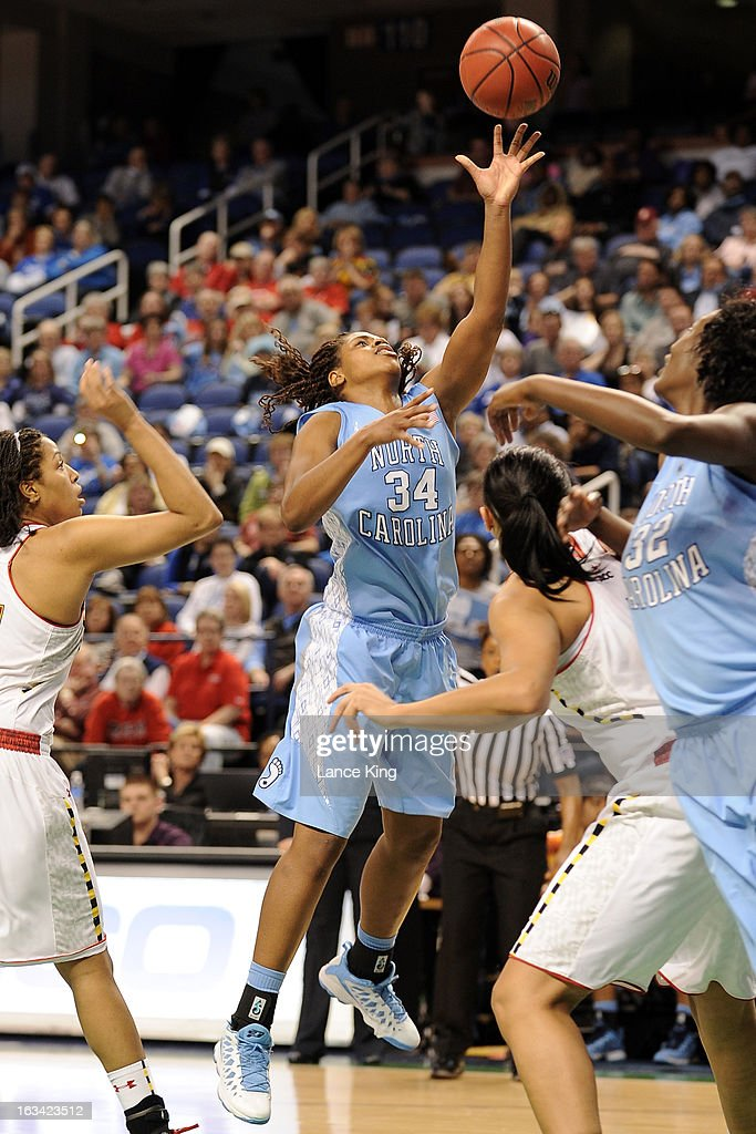Xylina McDaniel #34 of the North Carolina Tar Heels puts up a shot against the Maryland Terrapins during the semifinals of the 2013 Women's ACC Tournament at the Greensboro Coliseum on March 9, 2013 in Greensboro, North Carolina.