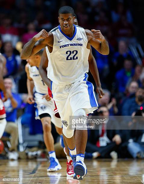 Xzavier Taylor of the Fort Wayne Mastodons celebrates as he jogs up the court during the game against the Indiana Hoosiers at Memorial Coliseum on...
