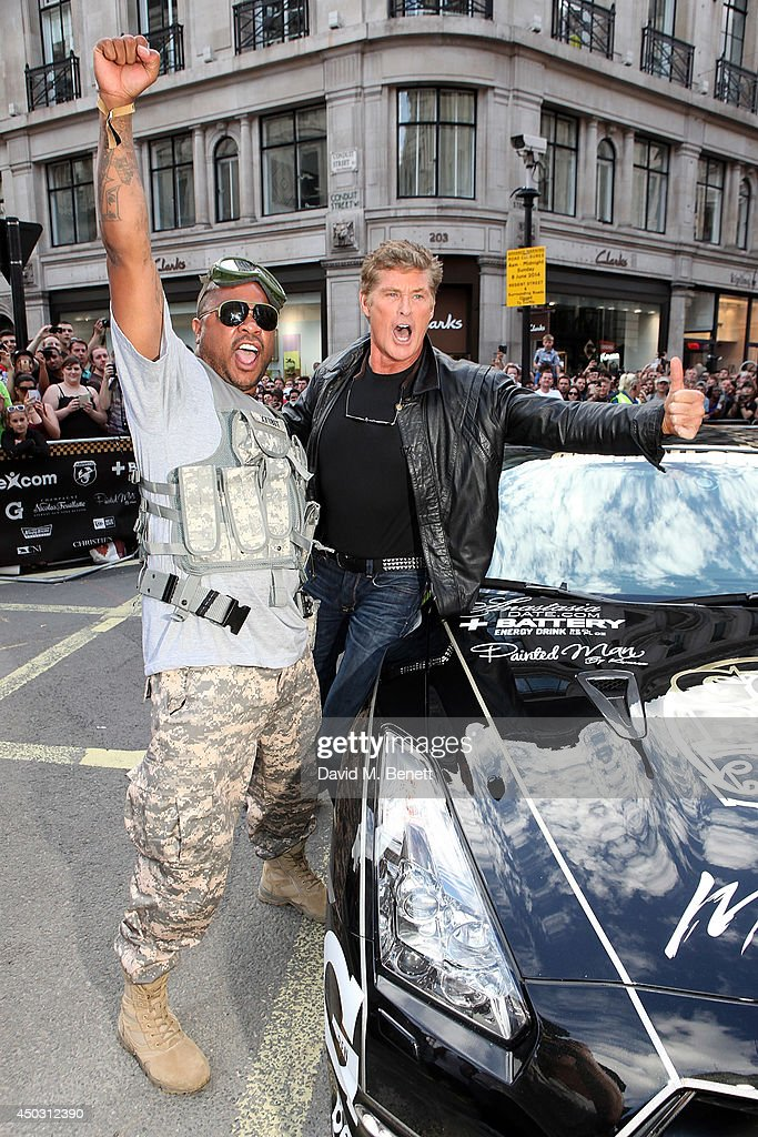 <a gi-track='captionPersonalityLinkClicked' href=/galleries/search?phrase=Xzibit&family=editorial&specificpeople=182436 ng-click='$event.stopPropagation()'>Xzibit</a> and David Hasselhoff attend Gumball 3000 London on Regents Street on June 8, 2014 in London, England.