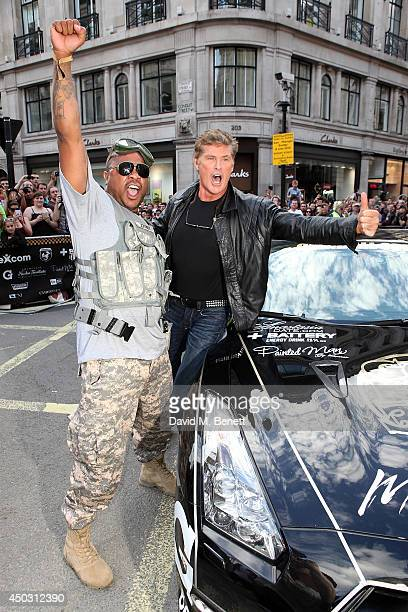 Xzibit and David Hasselhoff attend Gumball 3000 London on Regents Street on June 8 2014 in London England