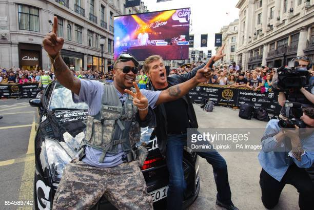 Xzibit and David Hasselhoff on Regent Street in central London during the London leg of the Gumball 3000 rally