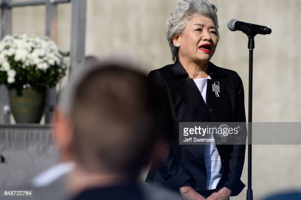 Yachiyo Kuge the mother of passenger Toshiya Kuge announces his name at the Flight 93 National Memorial on the 16th Anniversary ceremony of the...