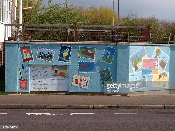 Yacht club wall decorated by Weare First School