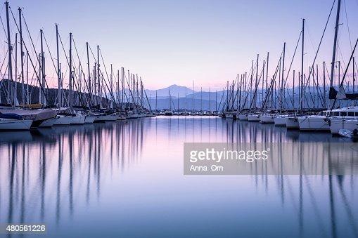 Yacht harbor in sunset : Stock Photo
