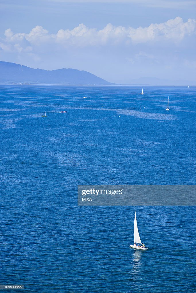 Yacht in Lake Biwa, Otsu, Shiga, Japan : Stock Photo