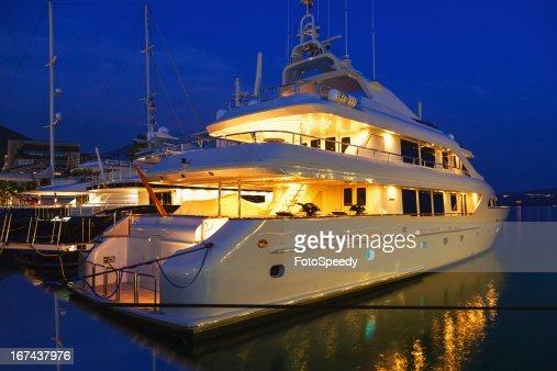 Yacht in the marina at night
