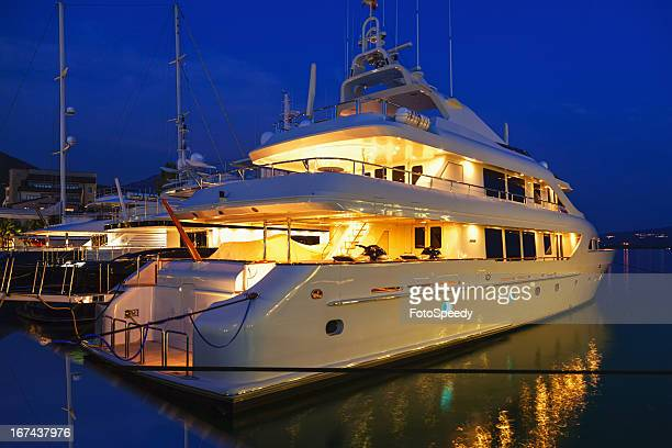 Yacht in the marina at night