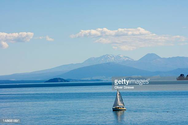 Yacht on Lake Taupo with Mount Ruapehu in the background.