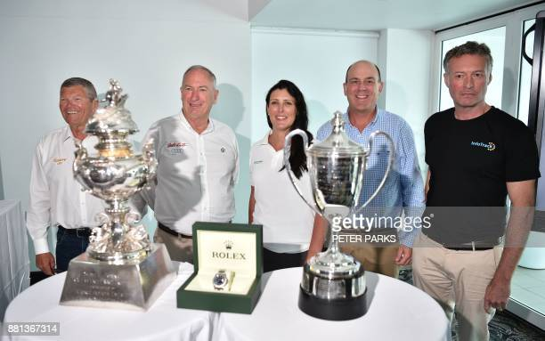 Yacht owners and skippers Shane Kearns Sandy Oatley Zoe Taylor Matt Allen and Christian Beck pose for photos with the Tattersall Cup for overall...