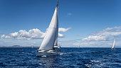 Yachting regatta in the Mediterranean sea near the Syros island