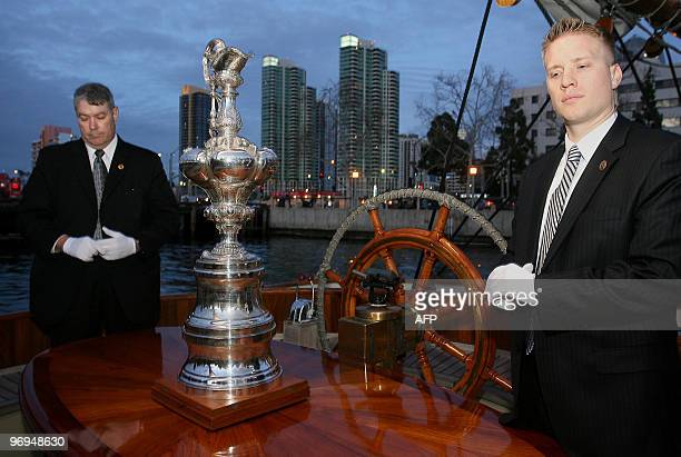 Yachting's America's Cup is displayed as it arrives for a ceremony in San Diego California on Febuary 21 2010 to celebrate the team Oracle's victory...