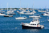Yachts anchored in New Harbor, Block Island, Rhode Island, America, USA