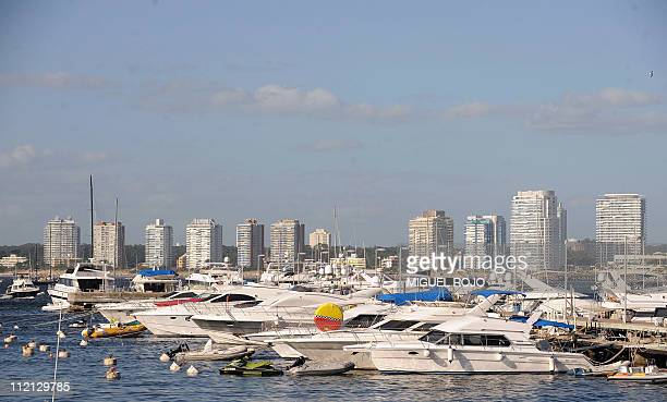 Yachts are seen anchored at the harbour in Punta del Este Maldonado 140 km east of Montevideo on January 8 2010 Punta del Este and its surroundings...