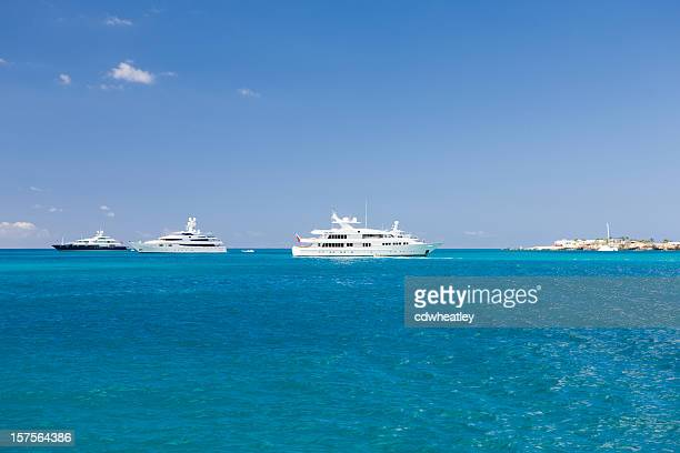 yachts at anchor in the Caribbean harbor