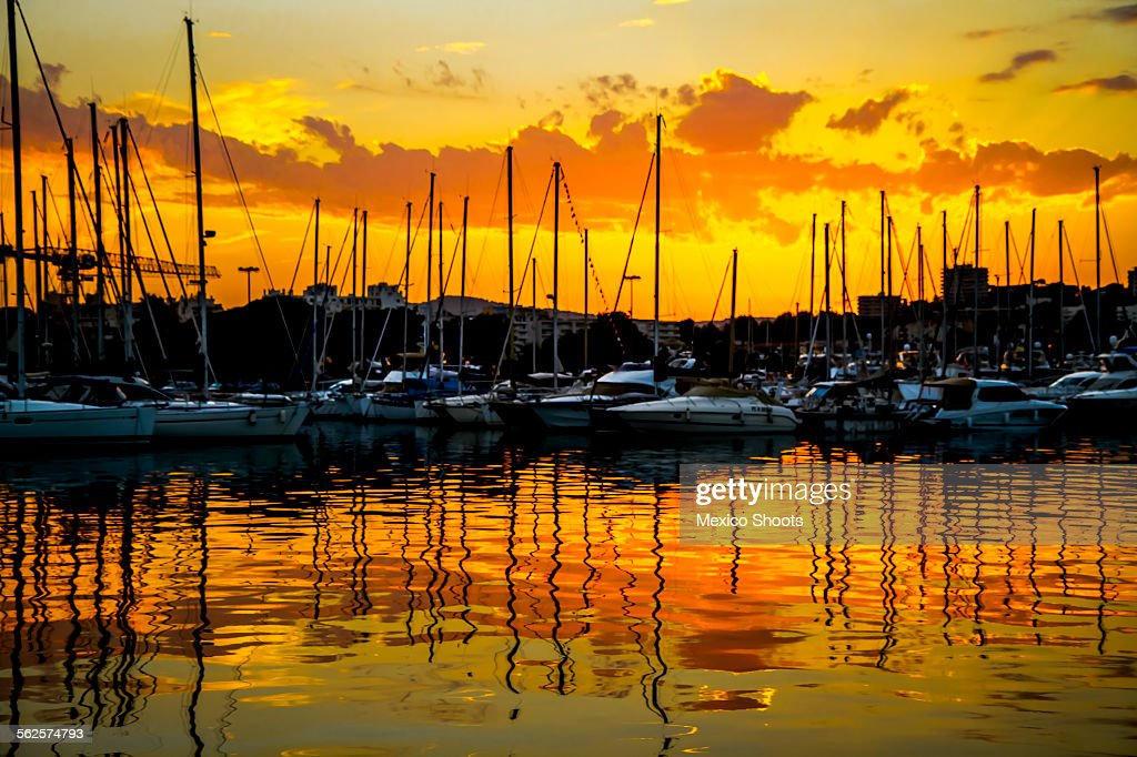 Yachts at sunset in Antibes