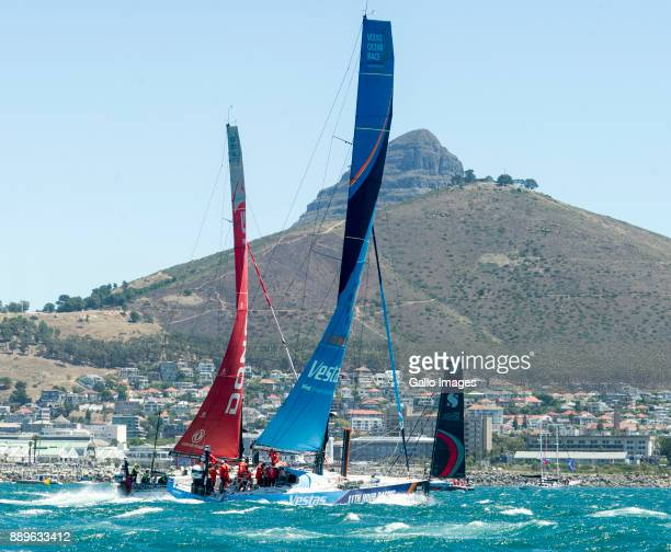 Yachts at the start during the Start of Leg 3 of the Volvo Ocean Race from Cape Town to Melbourne Australia at Granger Bay on December 10 2017 in...