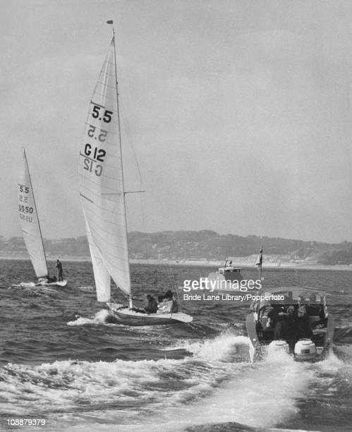 Yachts competing in the 55 Metre Class event at the Summer Olympics Sagami Bay Japan 20th October 1964