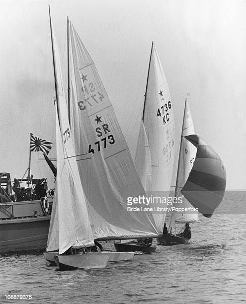 Yachts competing in the first race of the Star class event at the Summer Olympics Sagami Bay Japan 14th October 1964
