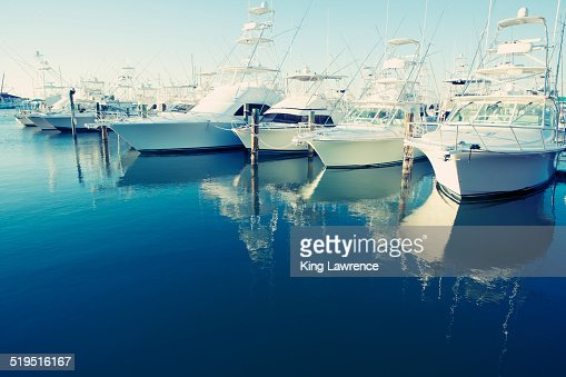 Yachts docked in harbor