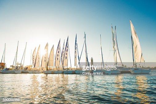 Yachts in Mission Bay marina, San Diego, California, USA