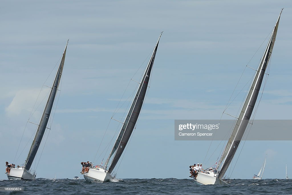 Yachts race offshore during the Sydney Regatta on Sydney Harbour, on March 9, 2013 in Sydney, Australia.