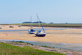 Yachts rest on the sand in an estuary at low tide.