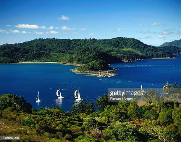 Yachts sailing off island.