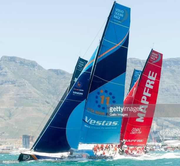 Yachts start the race as they cross the start marker during the Start of Leg 3 of the Volvo Ocean Race from Cape Town to Melbourne Australia at...