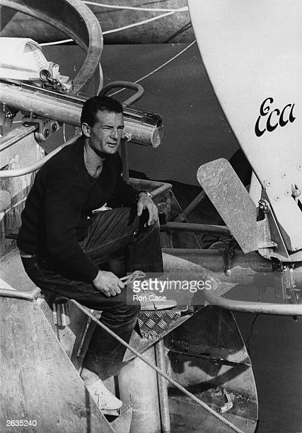 Yachtsman Eric Tabarly of France at Plymouth as he prepares to race across the Atlantic singlehandedly