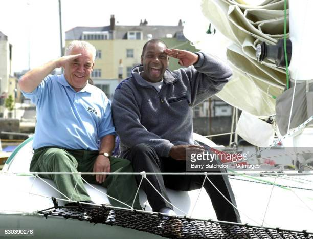Yachtsman Tony Bullimore and comedian Lenny Henry at the Mayflower Marina in Plymouth before they set sail for Montego Bay Jamaica on their 53ft...