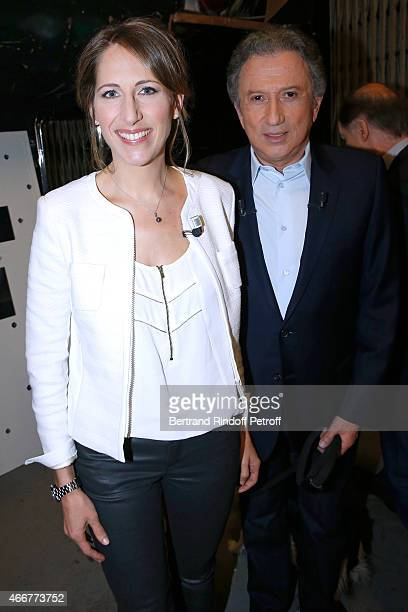 Yachtswoman Maud Fontenoy and presenter of the show Michel Drucker attend the 'Vivement Dimanche' French TV Show at Pavillon Gabriel on March 18 2015...