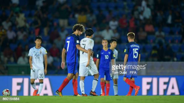 Yacine Adli of France and Takefusa Kubo of Japan after the FIFA U17 World Cup India 2017 group E match between France and Japan at Indira Gandhi...