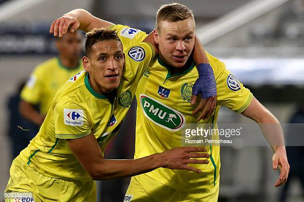 Yacine Bammou and Kolbeinn Sigthorsson for FC Nantes celebrates after scoring the 33 during the French Cup match between FC Girondins de Bordeaux and...