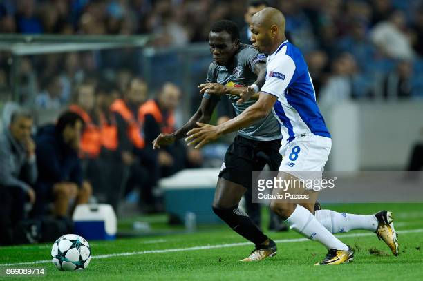Yacine Brahimi of FC Porto competes for the ball with Bruma of RB Leipzig during the UEFA Champions League group G match between FC Porto and RB...