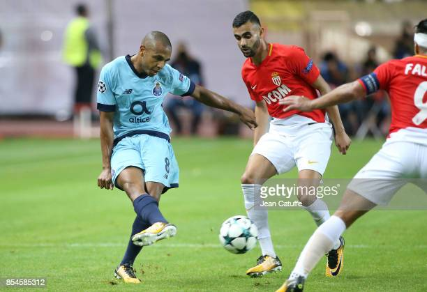Yacine Brahimi of FC Porto Rachid Ghezzal of Monaco during the UEFA Champions League group G match between AS Monaco and FC Porto at Stade Louis II...