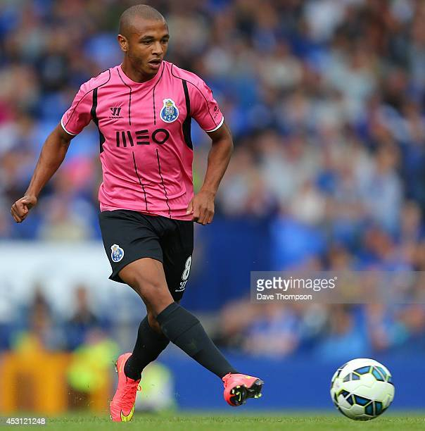 Yacine Brahimi of Porto during the PreSeason Friendly between Everton and Porto at Goodison Park on August 3 2014 in Liverpool England