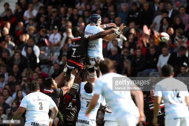 Yacouba Camara of Toulouse and Bernard Le Roux of Racing 92 during the Top 14 match between Stade Toulousain and Racing 92 on April 16 2017 in...