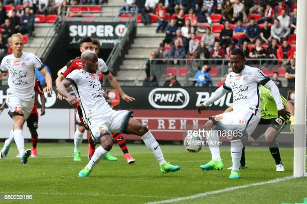 Yacouba Sylla and Stephane Sessegnon of Montpellier during the Ligue 1 match between Stade Rennais and Montpellier Herault at Roazhon Park on May 7...