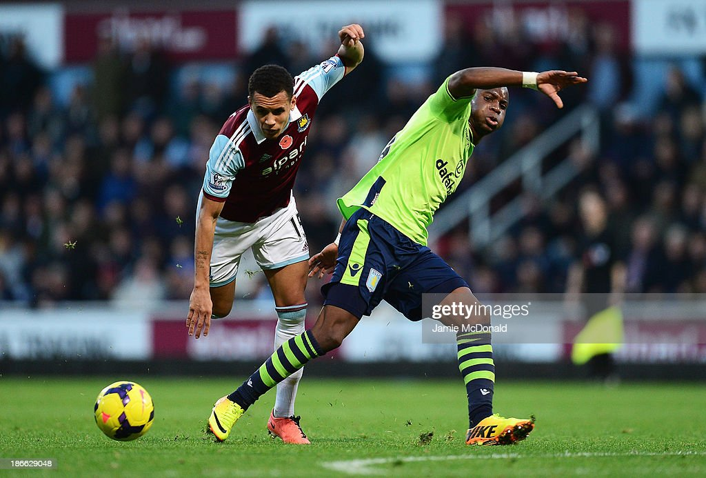 <a gi-track='captionPersonalityLinkClicked' href=/galleries/search?phrase=Yacouba+Sylla&family=editorial&specificpeople=7427297 ng-click='$event.stopPropagation()'>Yacouba Sylla</a> of Aston Villa challenges <a gi-track='captionPersonalityLinkClicked' href=/galleries/search?phrase=Ravel+Morrison&family=editorial&specificpeople=5621330 ng-click='$event.stopPropagation()'>Ravel Morrison</a> of West Ham United during the Barclays Premier League match between West Ham United and Aston Villa at the Boleyn Ground on November 2, 2013 in London, England.