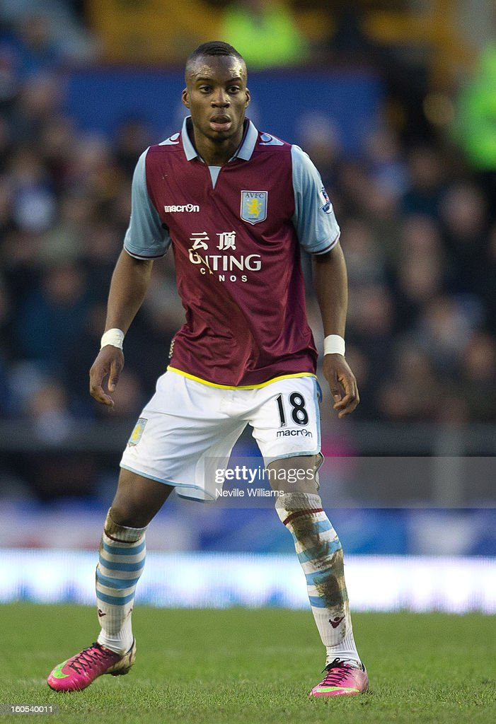 Yacouba Sylla of Aston Villa during the Barclays Premier League match between Everton and Aston Villa at Goodison Park on February 02, 2013 in Liverpool, England.
