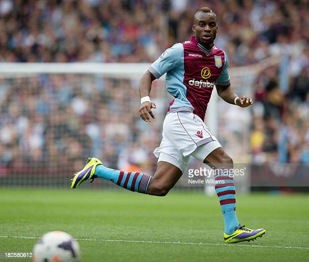 Yacouba Sylla of Aston Villa during the Barclays Premier League match between Aston Villa and Manchester City at Villa Park on September 28 2013 in...