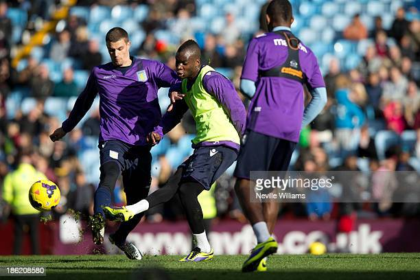 Yacouba Sylla of Aston Villa in action at Villa park during a Aston Villa open training session at Villa Park on October 29 2013 in Birmingham England
