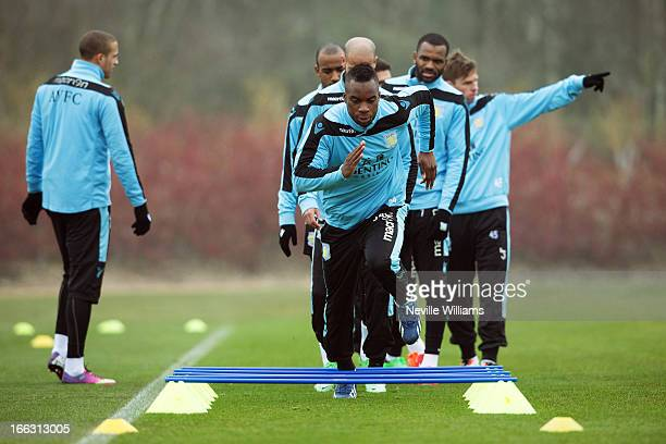 Yacouba Sylla of Aston Villa in action during an Aston Villa training session at the club's training ground Bodymoor Heath on April 11 2013 in...