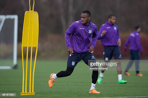 Yacouba Sylla of Aston Villa in action during an Aston Villa training session at the club's training ground at Bodymoor Heath on January 10 2014 in...