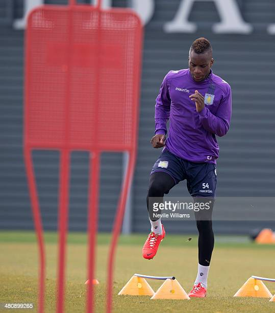 Yacouba Sylla of Aston Villa in action during an Aston Villa training session at the club's training ground Bodymoor Heath on March 27 2014 in...