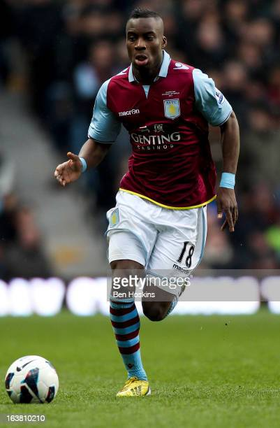 Yacouba Sylla of Aston Villa in action during the Barclays Premier League match between Aston Villa and Queens Park Rangers at Villa Park on March 16...
