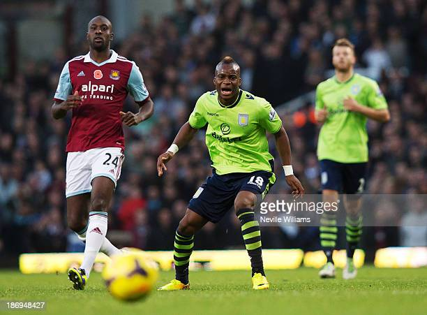 Yacouba Sylla of Aston Villa in action during the Barclays Premier League match between West Ham United and Aston Villa at the Boleyn Ground on...