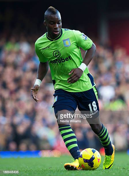 Yacouba Sylla of Aston Villa in actionduring the Barclays Premier League match between West Ham United and Aston Villa at the Boleyn Ground on...